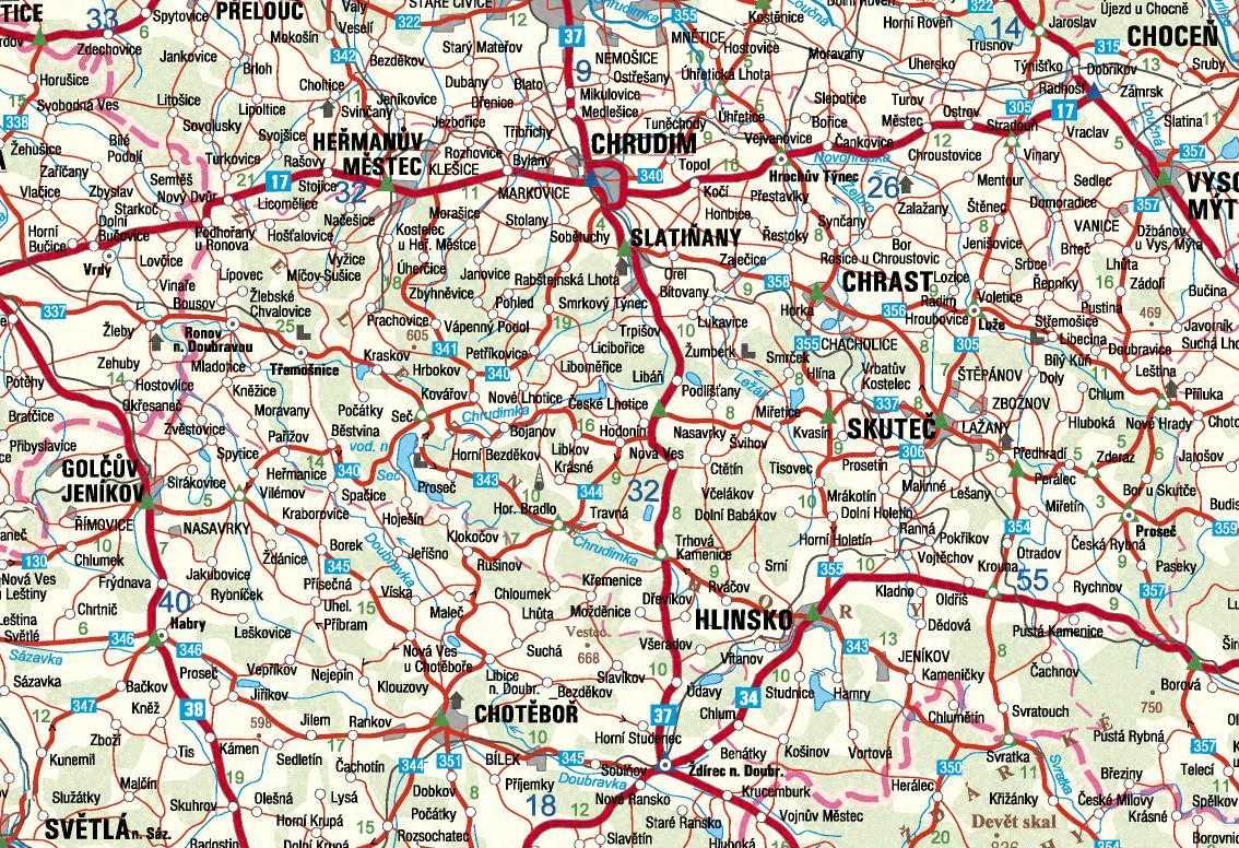 Mapa Okresu Chrudim